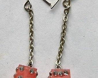 1980S PINK DICE DROP earrings long dangly