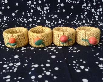 Raffia Rings~Natural and Orange~Made in Italy