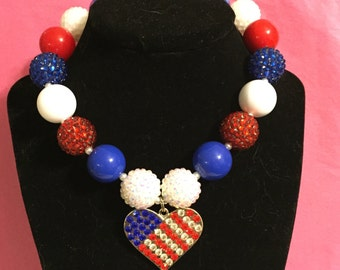 Red white and blue chunky necklace with pendant