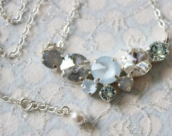 Swarovski necklace in blues