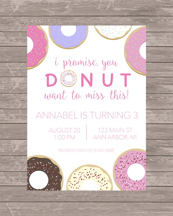 Donut birthday invitation jpeg file like this item stopboris Image collections