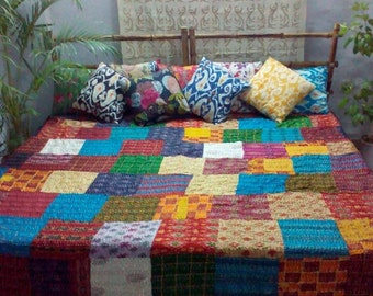 Silk Patchwork Kantha Quilt Throw from Bengal - Collectors Item