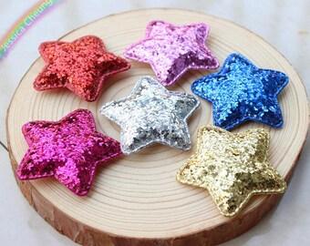 10pcs Glitter Sequin Star Appliques Padded Stars Baby Headband, Hair Accessory, Brooch, Party Decor, Scrapbook, DIY Craft Supplies FZ0301