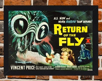 Framed Return Of The Fly Vincent Price Movie / Film Poster A3 Size Mounted In Black Or White Frame