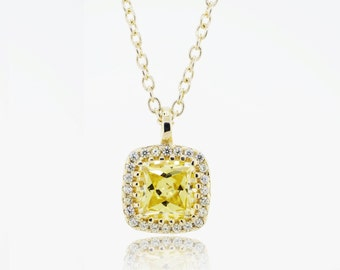 Princess cut Canary & CZ Pendant (B130)