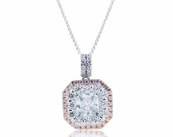 925 Sterling Silver 2 Tone Pendant with Chain - 2.70 CT.TW (S243)
