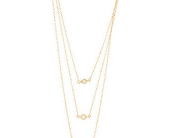 Cubic Zirconia & Goldtone Tiered Necklace (B54)