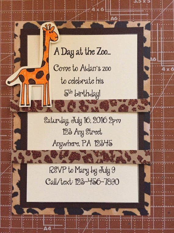 Zoo themed birthday party invitation/animal print/zoo theme/gender ...