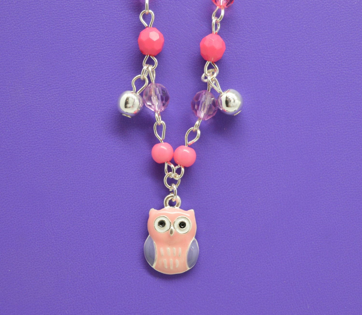 owl charm necklace little girls jewelry adorable pink owl. Black Bedroom Furniture Sets. Home Design Ideas