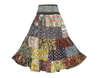 Boho Hippie Cotton Patchwork 5-Tier Broomstick Skirt  (M0701)