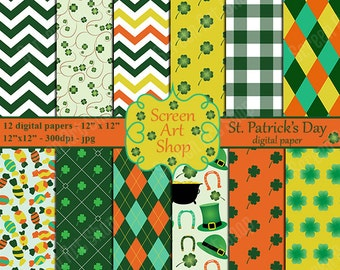 Irish paper, Irish paper pack, St pattys day papers, St Patricks patterns, Shamrock paper