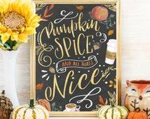 Pumpkin Spice Fall Art, Fall Print, Fall Printable, Fall Decor, Fall Signs, Coffee Bar Decor,  Coffee Bar Art, Thanksgiving, Decor, Print