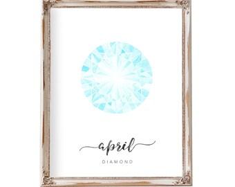 April Birthstone Print, Watercolor Birthstone Art, Birthstone Wall Art, April Birthstone Diamond Art Print, Birthday Art, Blue Diamond Art