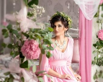 Pink Dress Long Chiffon Wedding Long Maxi Women