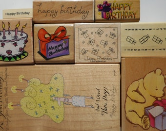 9 Happy Birthday Rubber Stamps, Free Shipping