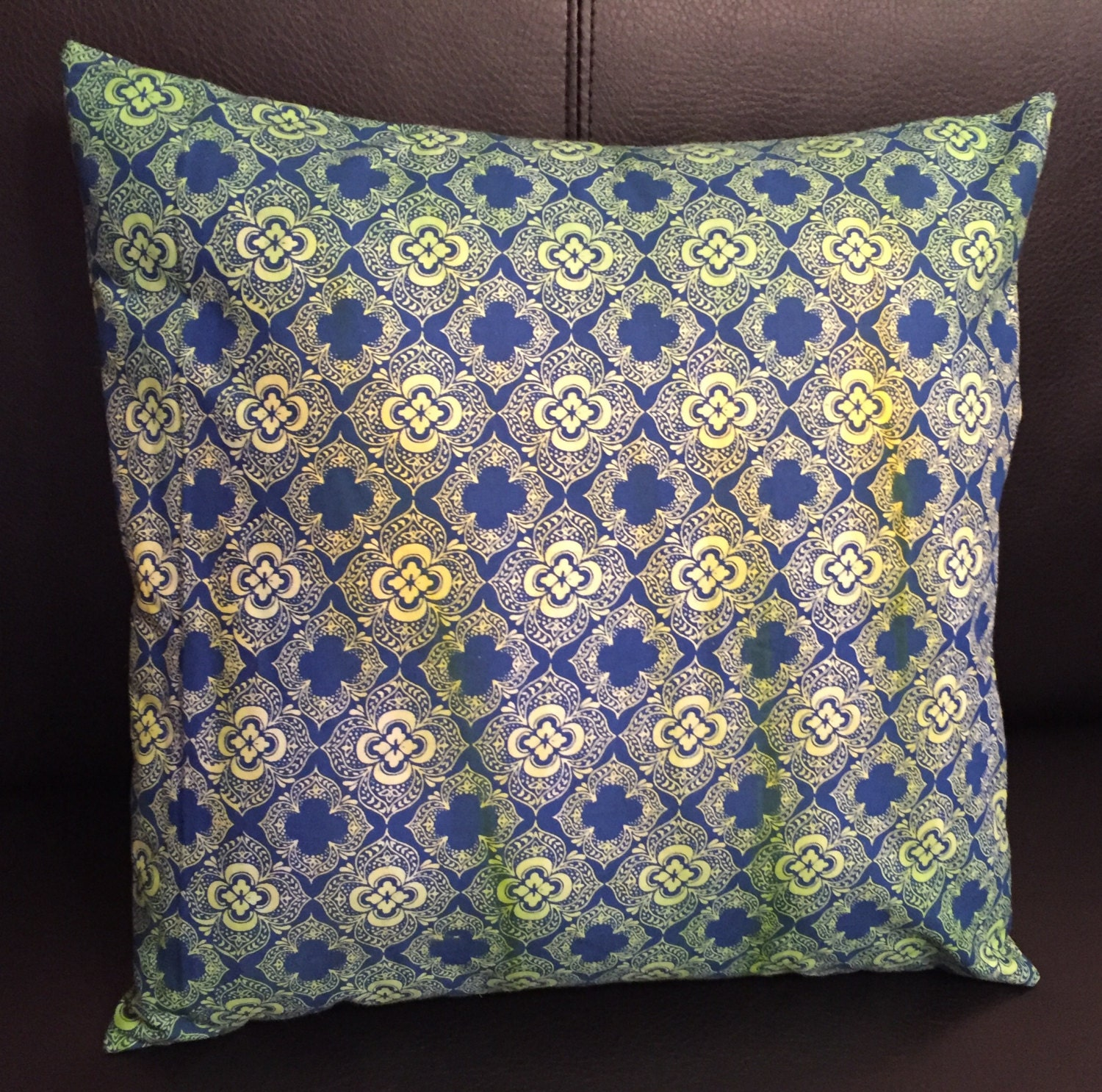 Navy Pillow Cover Deco Pillow Green and Blue Throw Pillow