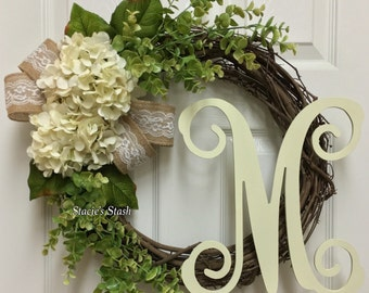 Everyday Wreath, Front Door Wreath, All Year Wreath, Initial Winter Wreath, Grapevine Wreath
