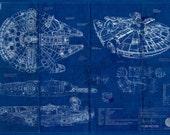 Millennium Falcon Star Wars Poster Blueprint (A2 = 420mm*594 or 16.5' * 23.4')
