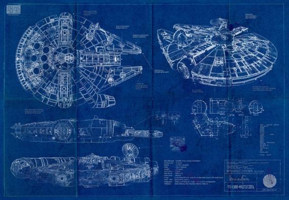 millennium falcon star wars poster blueprint a2 420mm594. Black Bedroom Furniture Sets. Home Design Ideas