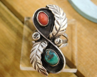 Stunning Turquoise and Coral Sterling Silver Ring