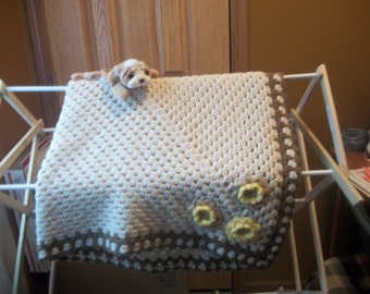 Cream and Brown with Flowers Crocheted Baby Blanket