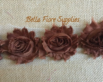 Brown Shabby Chiffon Rose Trim-2.5 inch- Shabby Chiffon Flowers- Wholesale-