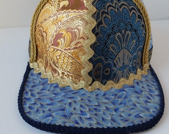 Handmade Snapback Hat, One of a Kind Hat, Festival Snapback- Gem Series- Sapphire (Blue and gold)