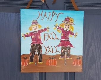 Fall scarecrow door hanger 12×12