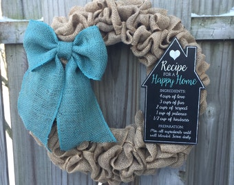 Burlap Wreath, Kitchen Wreath, Burlap Wreath with Teal Bow, Pantry Door Wreath, Farmhouse Kitchen Decor, Kitchen decor, Housewarming gift