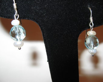 Sterling Silver Blue Quartz fresh water pearls earrings