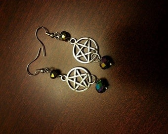 Iridescent Pagan Pentacle Earring Witch Wiccan Charm