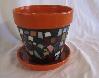 Multi Color Mosaic Flower Pot, Garden Art