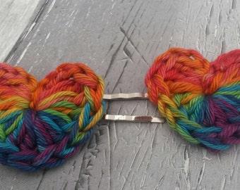 rainbow heart hair grips, hair slides, hair pins, rainbow cotton crochet