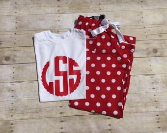 pajama set / pj set / polka dot lounge pants / red sleep pants / pajama pants and shirt / sleep clothes /