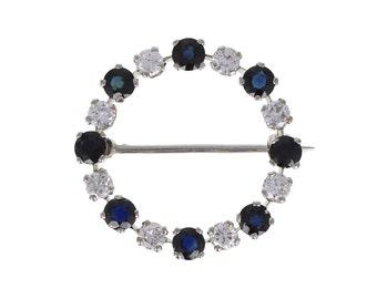 Sapphire and Diamond Circle Brooch