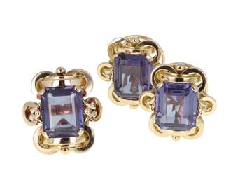 Synthetic Alexandrite Dress Ring and Earring Set