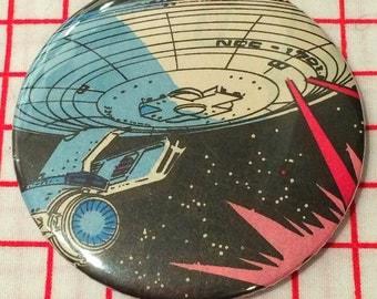 Vintage 80's Star Trek Enterprise ship 6cm handbag mirror