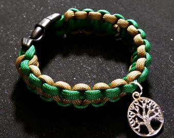 Paracord Green And Brown Earth Elemental Bracelet With Tree Of Life Charm