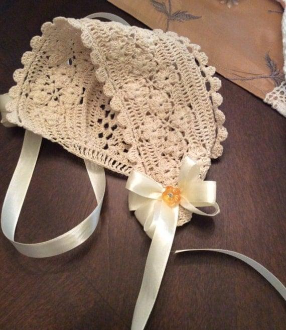 Crochet Baby field of flowers bonnet pattern christening