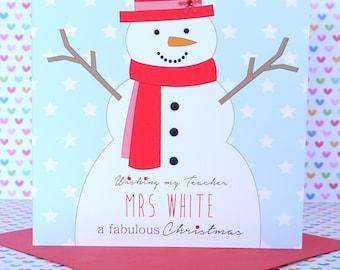 Personalised Handmade Christmas Card,Mum & Dad, Grandparents, Teacher, Godson