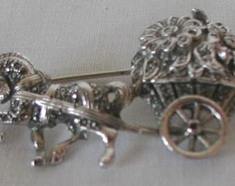 Vintage Silver Tones Marcasite Brooch Pin Horse Pony Trap Cart