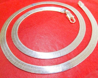 """New Sterling Silver Layered Herringbone 18"""" Chain Necklace"""