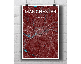 Manchester, England - City Map Print