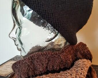 Reversible Black Cloche Hat Toque Wool Hand Knit Original Versatile Warm