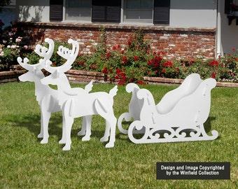 Medium Elegant Reindeer and Sleigh Display