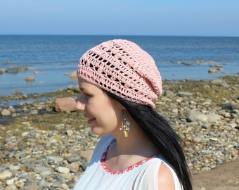 Boho style spring/summer hat, crochet beanie, women, girls, teens, 100% cotton