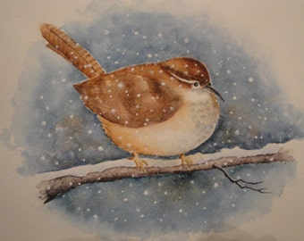 Carolina Wren caught in a snow storm, Giclee print created from my original watercolor, birds, wrens, North Carolina