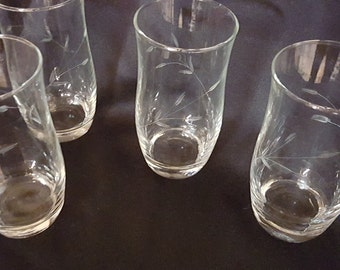 Frosted Flower Pattern Etched Drinking Glasses