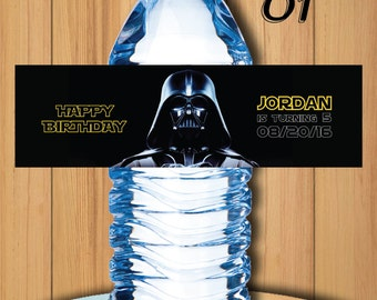 Star wars water bottler label, star wars birthday, star wars party, star wars favors, star wars party favors, 16.9 oz water bottle label #1