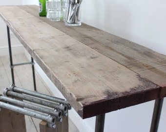 Fiona Reclaimed Scaffolding Boards and Graphite Steel Pipe Bar/Console Table - Bespoke Industrial Furniture Design by www.urbangrain.co.uk